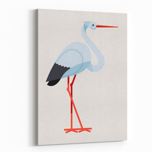 Lovely Vector Flat Design Geometric Long Legged White Stork Bird Icon, Side View Isolated Canvas Wall Art Print