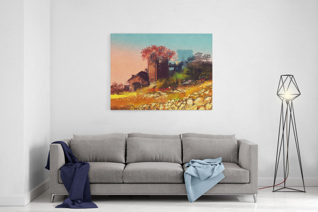 Painting Of Farm House On The Country Side,illustration Canvas Wall Art Print