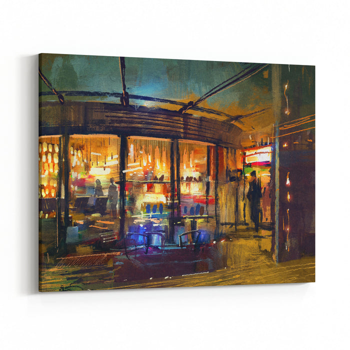 Painting Of Retail Shop Entrance In Store,illustration Canvas Wall Art Print