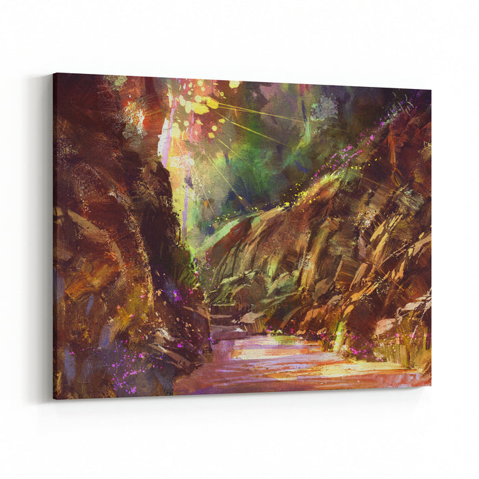 Colorful Path In The Mountain,digital Painting,illustration Canvas Wall Art Print
