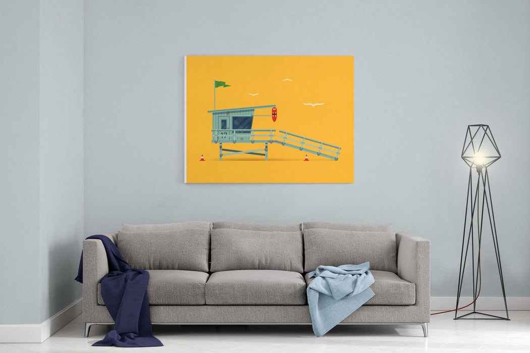 Lovely Vector Modern Flat Design Illustration On Detailed Lifeguard Tower On The Beach, Side View Canvas Wall Art Print