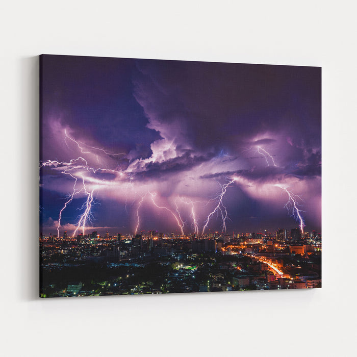 Lightning Storm Over City In Purple Light Canvas Wall Art Print