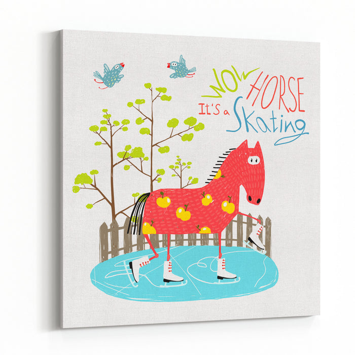 Colorful Fun Cartoon Ice Skating Horse For Kids  Countryside Amusing Skating Baby Animal Illustration For Children Vector EPS Canvas Wall Art Print