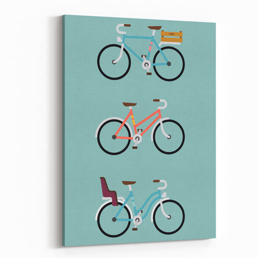 Set Of Three Modern Vector Flat Design Bicycle Icons  Simple And Geometric Transport Flat Illustration On Bicycles With Crate Carrier On Rear Rack, Baby Seat And Low Frame Canvas Wall Art Print