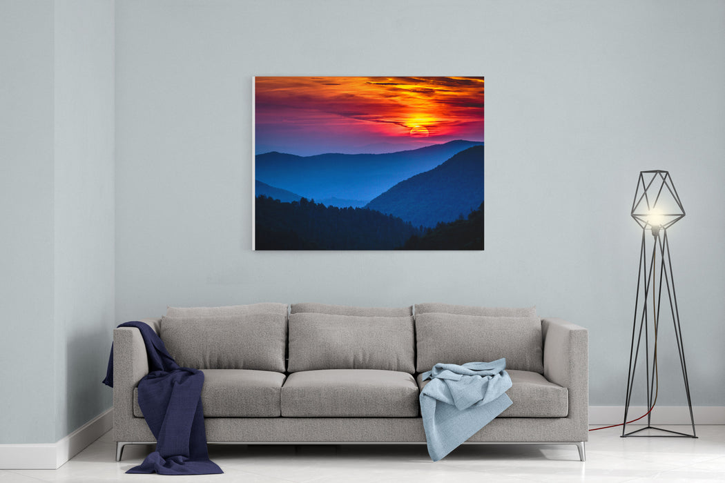 Great Smoky Mountains National Park Scenic Sunset Landscape Vacation Getaway Destination  Gatlinburg Pigeon Forge Tennessee Canvas Wall Art Print