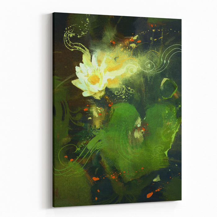 Painting Of Beautiful White Lotus Blossom,single Waterlily Flower Blooming On Pond Canvas Wall Art Print