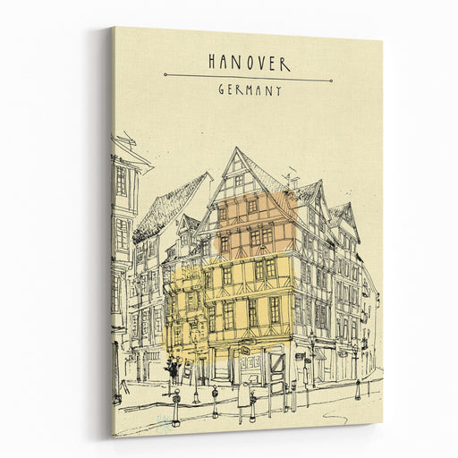 View Of Old Center In Hanover, Germany, Europe Historical Building Line Art Freehand Drawing With Liner Pen And Pencils On Paper Travel Sketch With Hand Lettering Postcard Graphic Design Template Canvas Wall Art Print