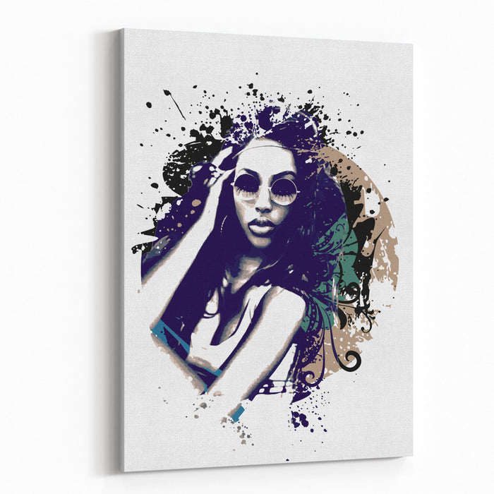 Abstract Vector Illustration With A Girl With Sunglasses Canvas Wall Art Print