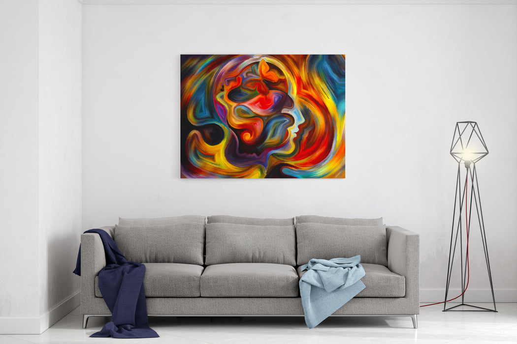 Colors Of The Mind Series Artistic Background Made Of Elements Of Human Face, And Colorful Abstract Shapes For Use With Projects On Mind, Reason, Thought, Emotion And Spirituality Canvas Wall Art Print