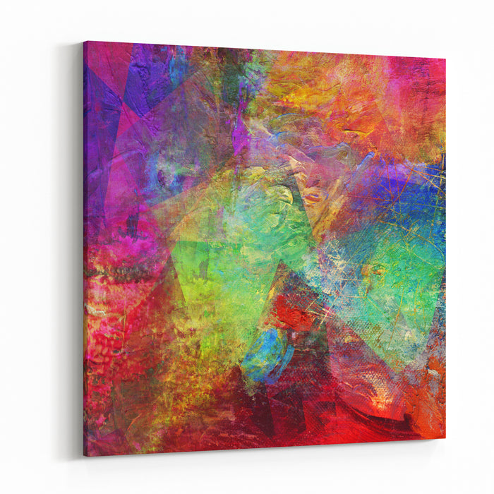 Abstract Multicolor Layer Artwork, Opaque And Transparent Oil Paint Textures On Canvas Canvas Wall Art Print
