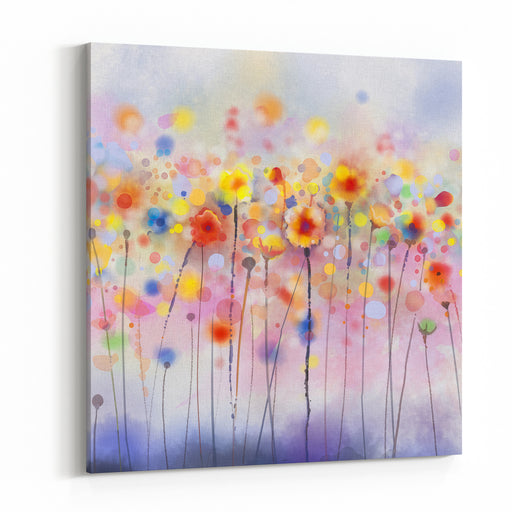 Abstract Floral Watercolor PaintingsRed Flowers In Soft Color On GrungePaper Background Canvas Wall Art Print