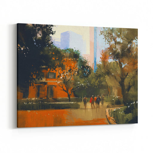 Urban Scene With People,digital Painting,illustration Canvas Wall Art Print