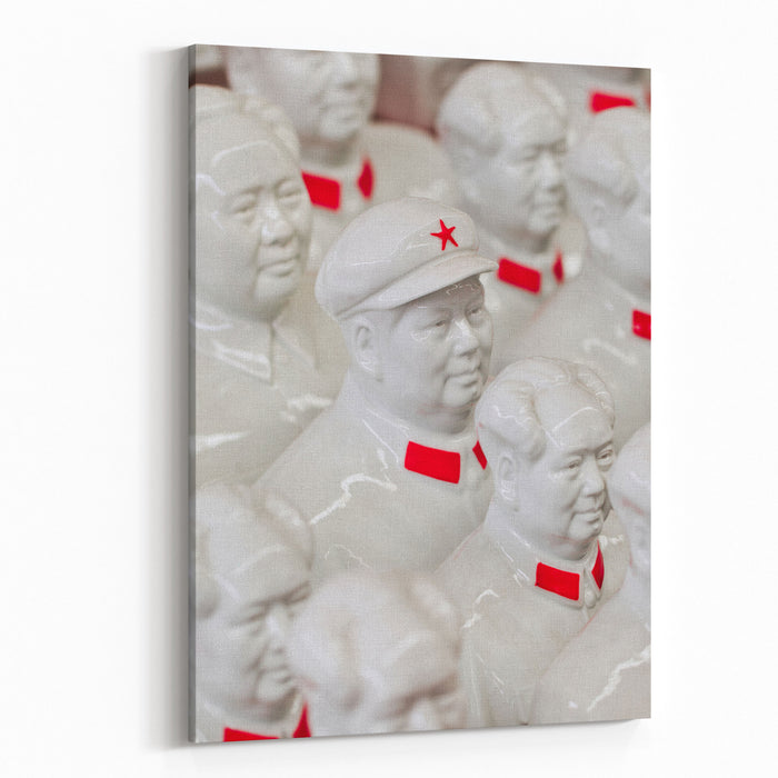 Collection White Mao Zedong Sculptures On Panjiayuan Market, Located In South East Beijing, China Canvas Wall Art Print