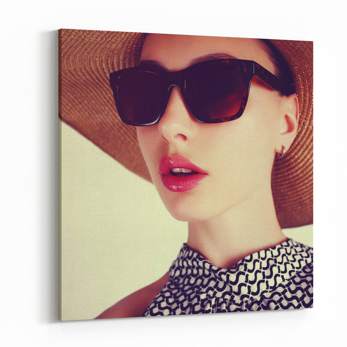 Beautiful Sensual Young Brunette Woman In A Hat And Sunglasses Canvas Wall Art Print