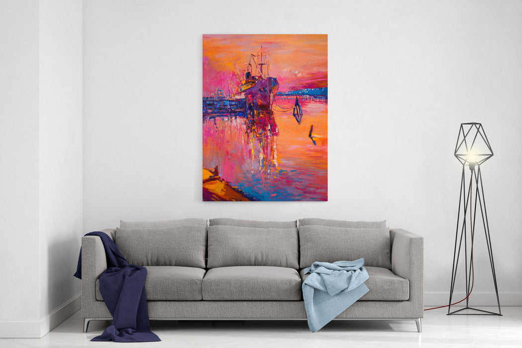 Original Oil Painting On Canvas Ship And Sea Modern Impressionism By Nikolov Canvas Wall Art Print