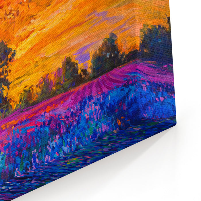Original Oil Painting Of Lavender Fields On CanvasSunset Over Lavender Field Modern Impressionism By Nikolov Canvas Wall Art Print