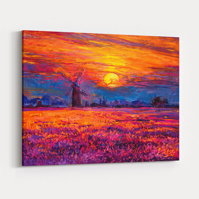 Oil Painting Landscape  Colorful Sunset And Beautiful Mill Modern Impressionism By Nikolov Canvas Wall Art Print