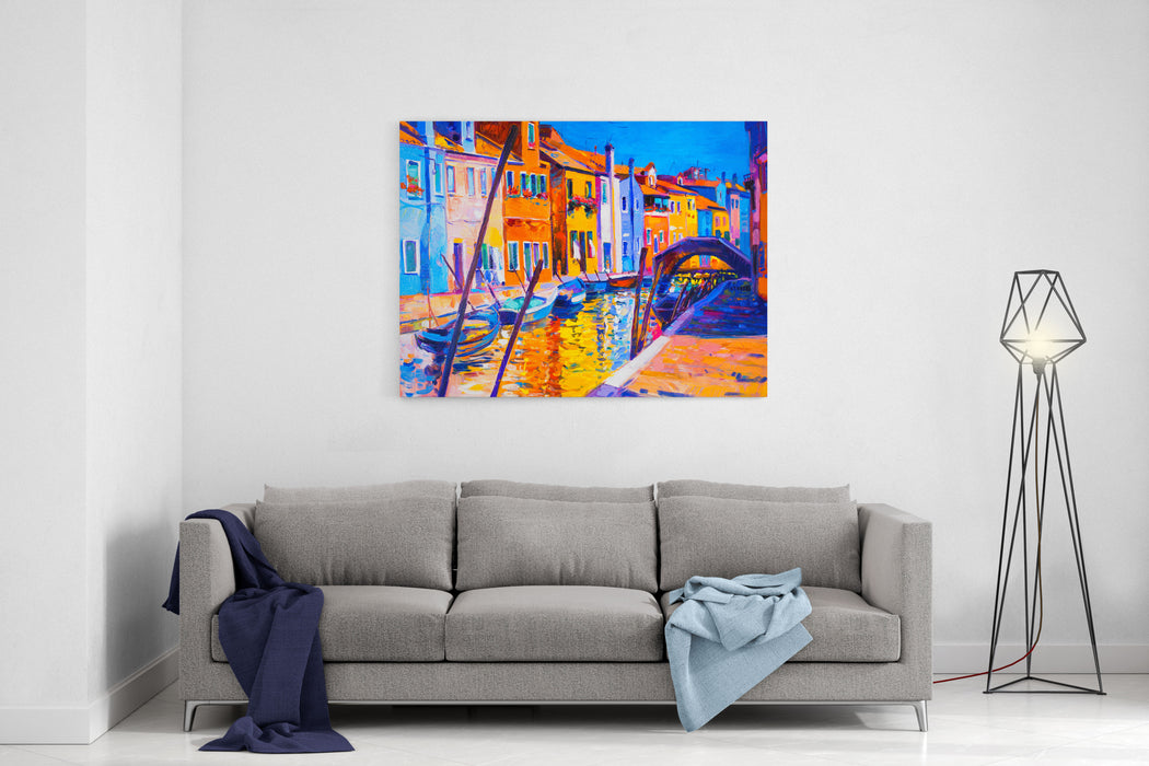 Original Oil Painting Of Beautiful Venice, Italy On CanvasModern Impressionism By Nikolov Canvas Wall Art Print