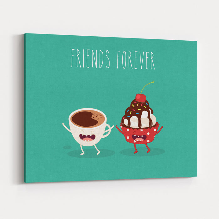 Cupcakes And Cup Coffee Comic Characters Vector Cartoon Friend Forever Canvas Wall Art Print