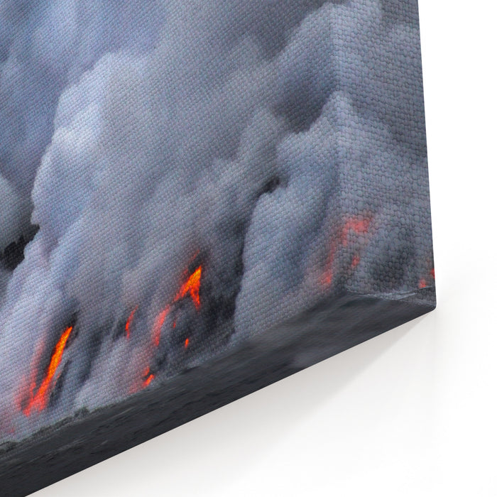 Lava Erupting Into Pacific Ocean During Evening On Big Island Canvas Wall Art Print
