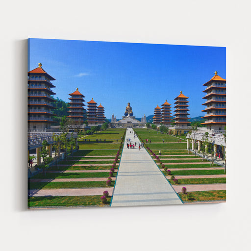 Chinese Temple And Golden Buddha Statue In Kaohsiung, Taiwan Canvas Wall Art Print