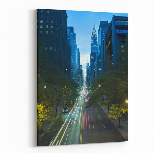 Traffic At Night On Nd Street, Tudor City Overpass, New York City Canvas Wall Art Print