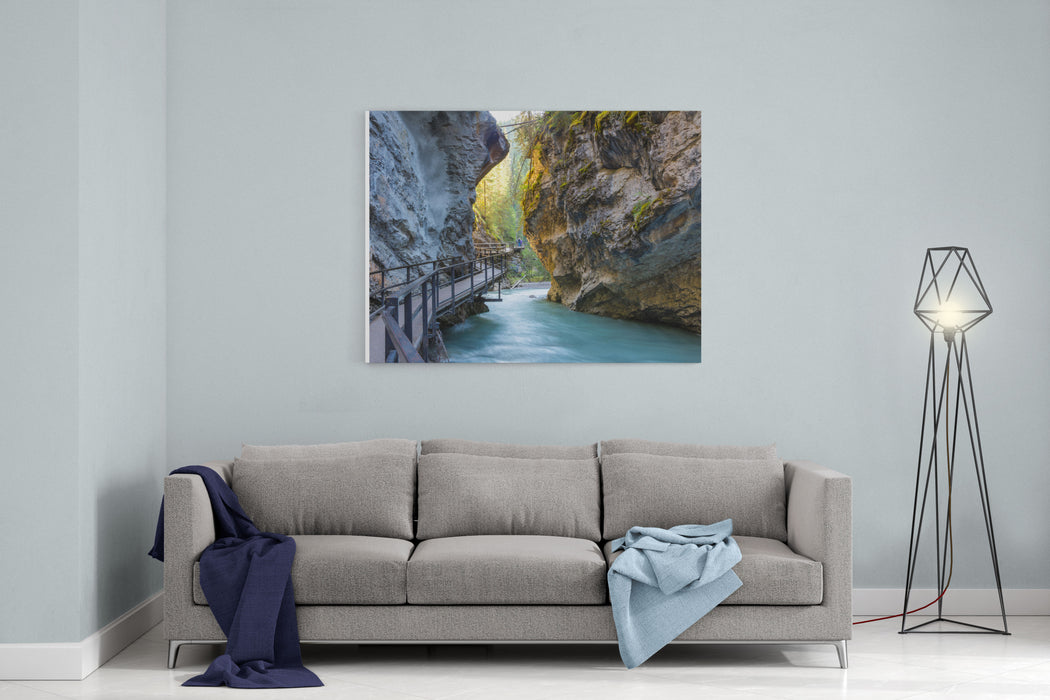 Beautiful Johnston Canyon Walkway With Turquoise Water Below, In Banff National Park, Alberta, Canada  Shot With Long Exposure To Give Colorful River A Smooth  Dreamy Effect Canvas Wall Art Print