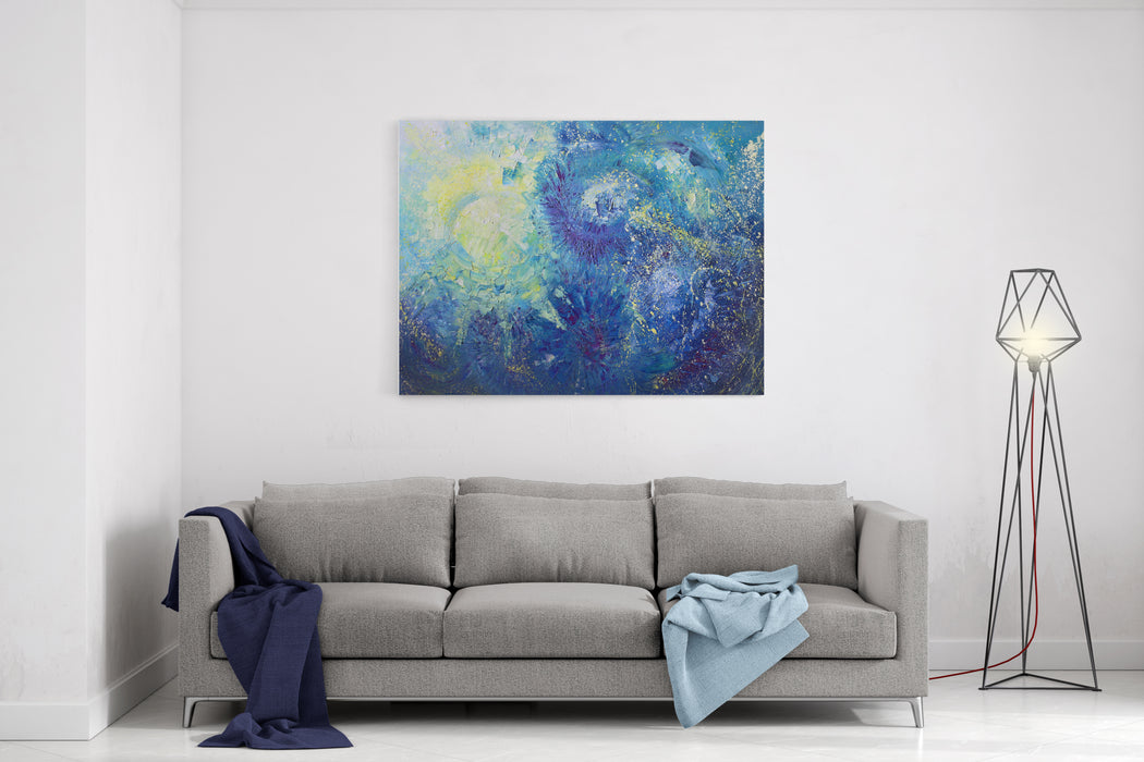 Bright Abstract Background Painted With Oil Paints Canvas Wall Art Print