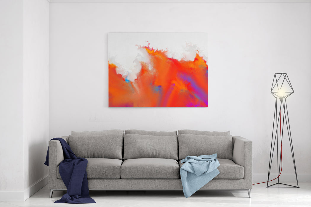 Abstract Painting In Fire Pattern Canvas Wall Art Print