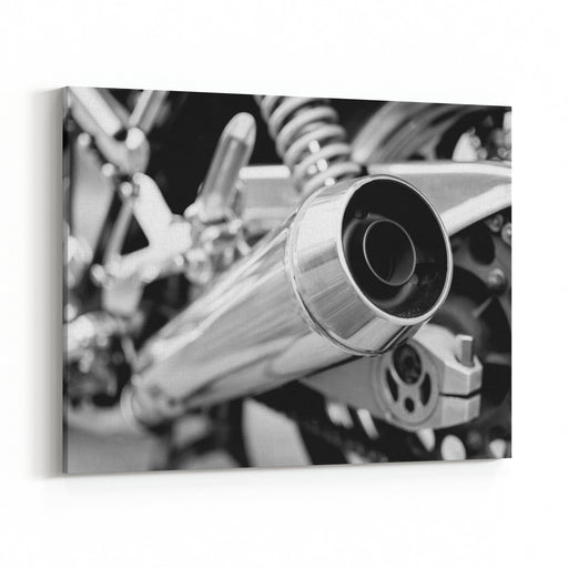 Big Chromed Exhaust On Motorcycle, Photographed From Behind Black And White Photo Canvas Wall Art Print