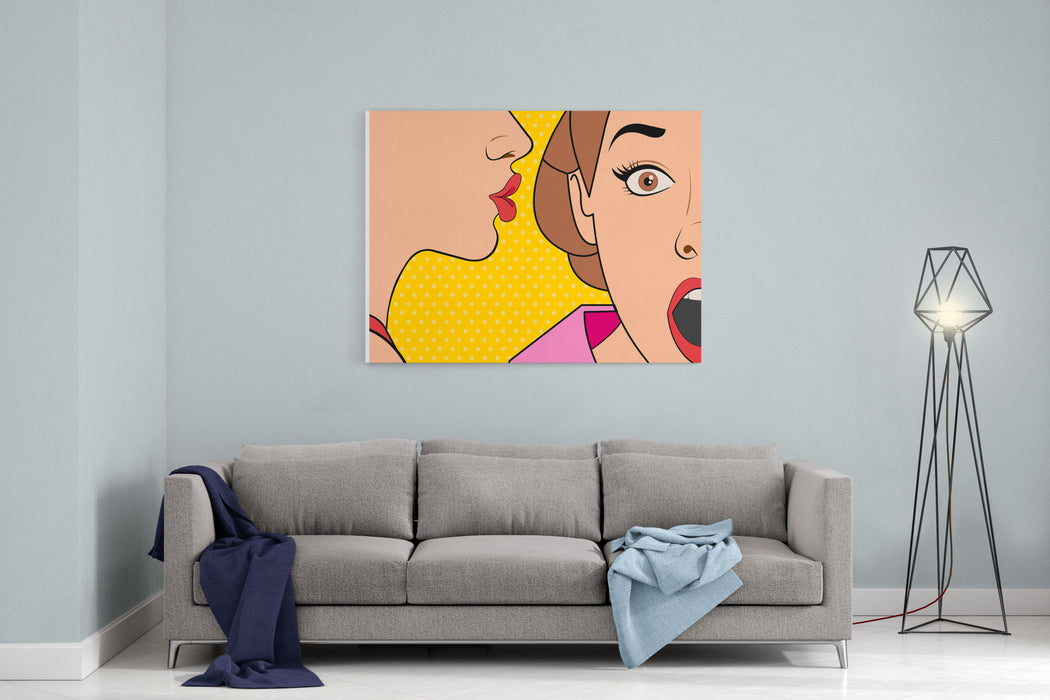 Beautiful Retro Woman Whispering A Gossip To Her Surprised Friend Vintage Art Canvas Wall Art Print