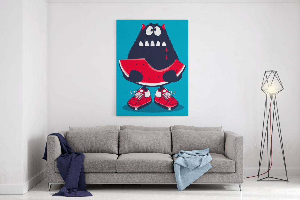 Cute Monster, Watermelon Vector Design Canvas Wall Art Print
