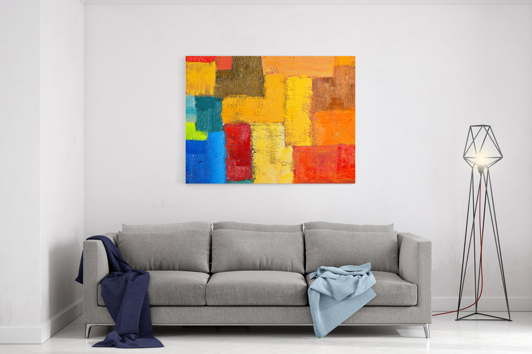 Abstract Texture Background Of An Original Oil Geometric Painting Closeup Fragment On Canvas With Brush Strokes Canvas Wall Art Print