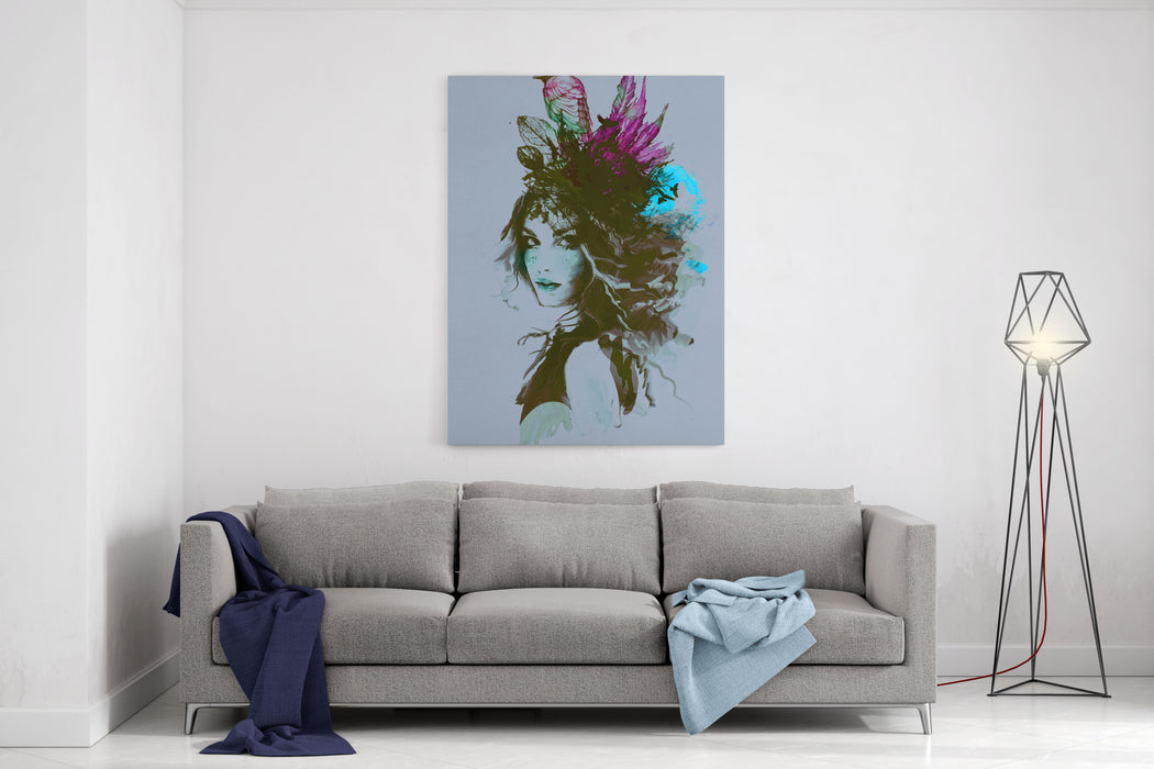 Free Hand Fashion Illustration With A Girl And Birds Canvas Wall Art Print