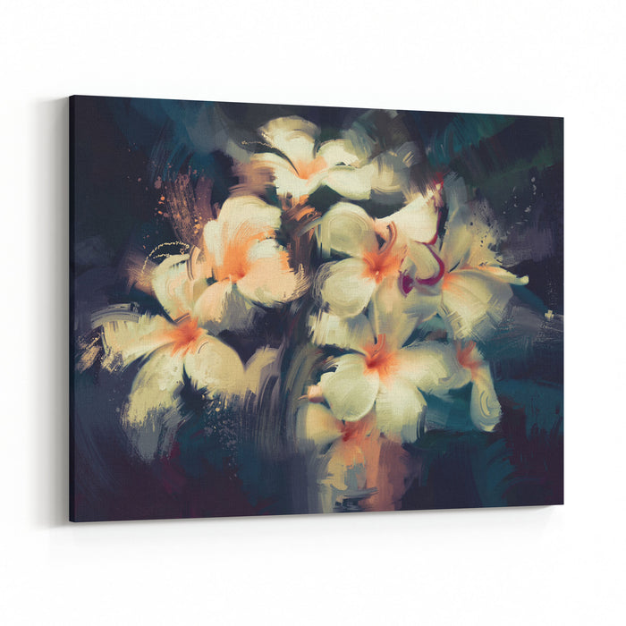 Painting Of Beautiful White Flowers In Dark Background Canvas Wall Art Print
