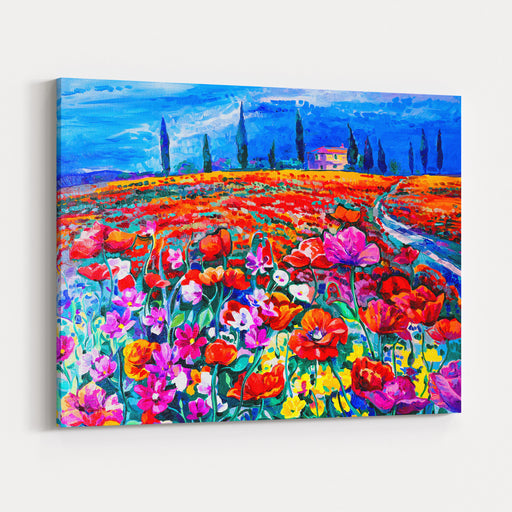 Original Oil Painting Of Poppy Field On Canvas, Modern Impressionism By Nikolov Canvas Wall Art Print