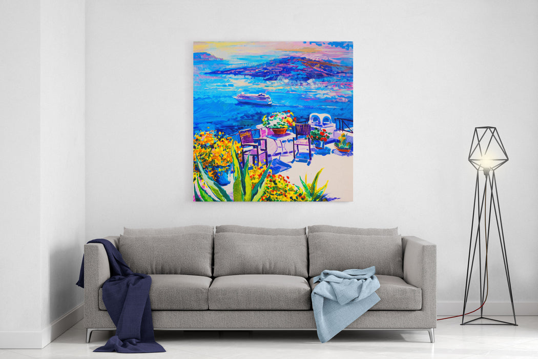 Seascape Of SantoriniOriginal Oil Painting Modern Impressionism By Nikolov Canvas Wall Art Print