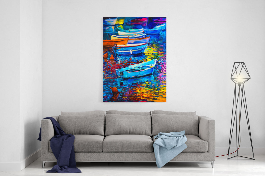 Original Oil Painting On Canvas Boats And Sea Modern Impressionism By Nikolov Canvas Wall Art Print