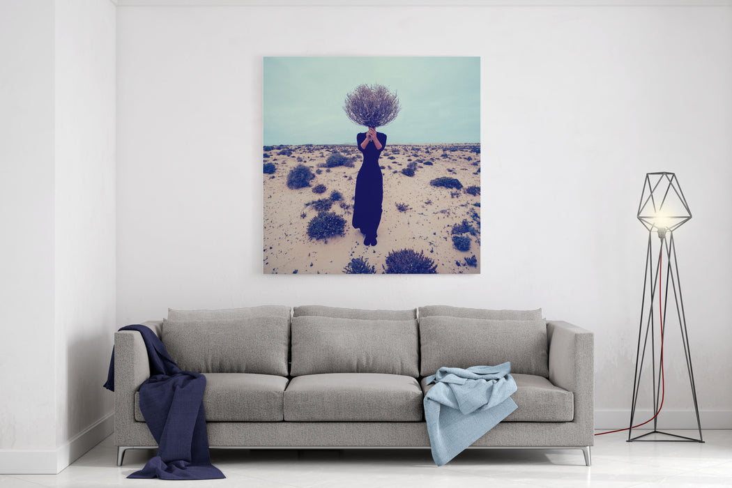 Fashion Photo Girl In The Desert With A Bouquet Dead Branches Canvas Wall Art Print