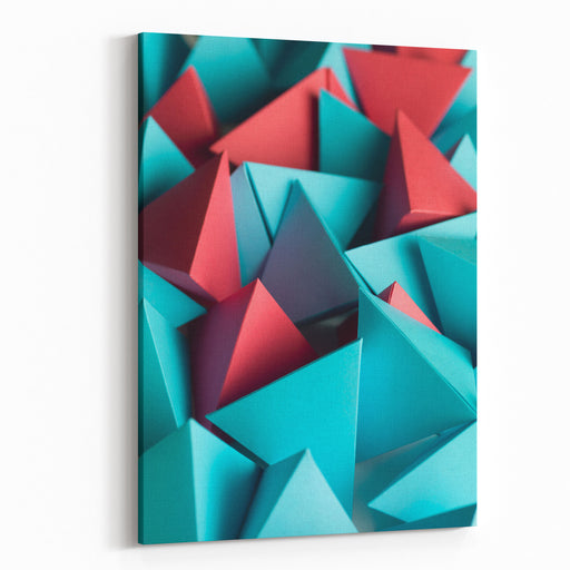 Abstract Wallpaper Consisting Of Multicolored Pyramids Canvas Wall Art Print