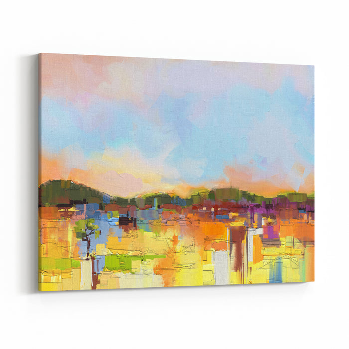 Abstract Colorful Oil Painting Landscape On Canvas Semi Abstract Image Of Hill And Field In Yellow And Green With Blue Sky Spring Season Nature Background Canvas Wall Art Print