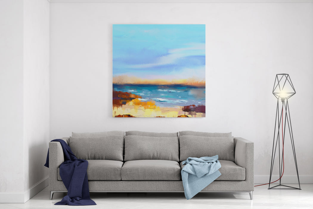 Abstract Colorful Oil Painting Seascape On Canvas Semi Abstract Image Of Sea And Beach With Waves, Rocks And Blue Sky Summer Season Nature Background Canvas Wall Art Print