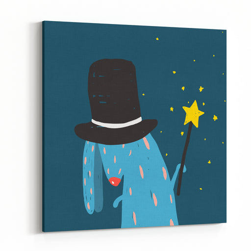 Rabbit In Black Hat Doing Tricks With Magic Wand Colorful Dark Magical Illustration For Kids Greeting Card Or Holiday Invitation Canvas Wall Art Print