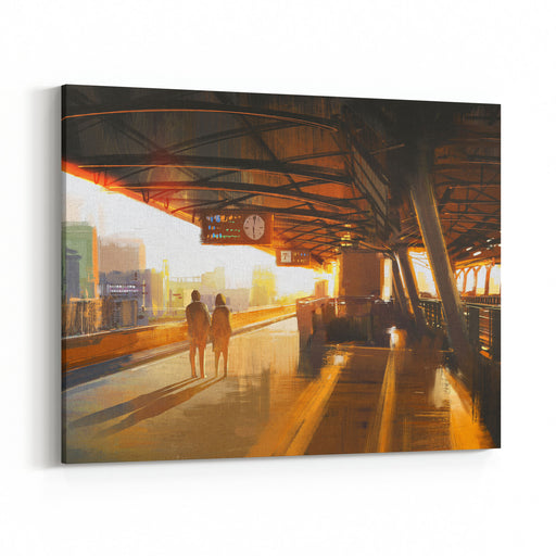 Painting Of Couple Waiting A Train On The Station,illustration Canvas Wall Art Print