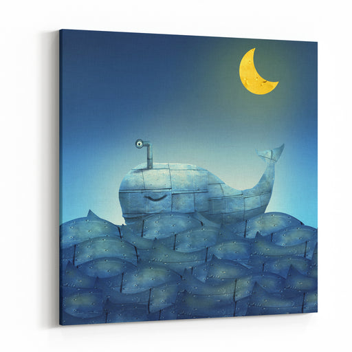 Surreal Illustration Of A Mechanical Whale, Like Submarine, In The Ocean With A Half Moon Canvas Wall Art Print