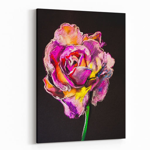 Original Pastel DrawingPink Rose Modern Art Canvas Wall Art Print