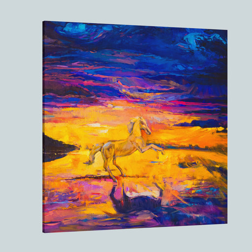 Oil Painting On Canvas White Horse Modern Impressionism By Nikolov Canvas Wall Art Print