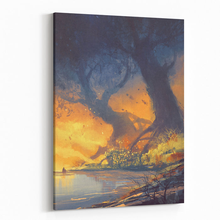 Fantasy Landscape Painting Of Big Trees With Huge Roots At Sunset Beach Canvas Wall Art Print