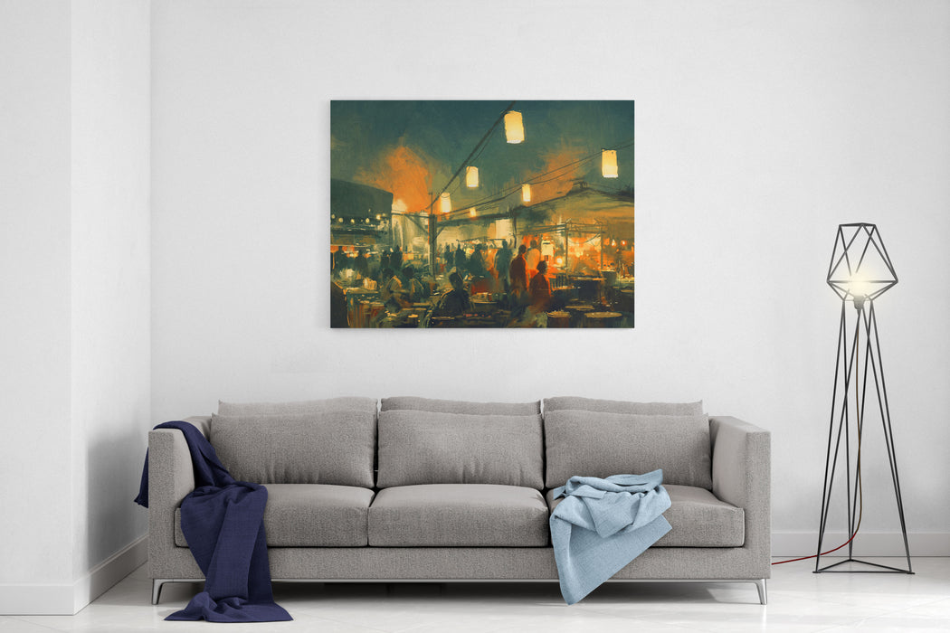Crowd Of People Walking In The Market At Night,digital Painting Canvas Wall Art Print