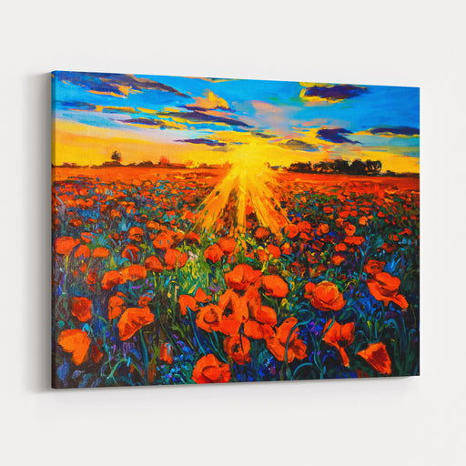 Oil Painting On Canvaspoppy Field And Sunsetmodern Impressionism By Nikolov Canvas Wall Art Print